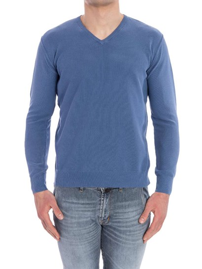 V neck sweatshirt Knitted cotton sweatshirt Color: light blue Ribbed edges   - Della Ciana - Sweatshirt