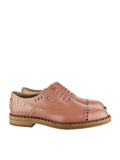 Oxford leather shoes Colour: powder pink Metal studs inserts Leather sole - Zadig & Voltaire - Oxford shoes