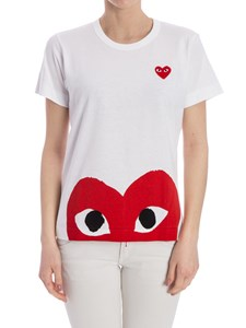 Comme des Garçons Play  - White t-shirt with red Heart logo print