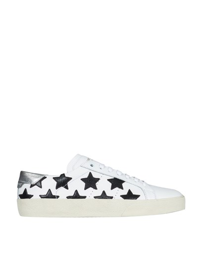Sneakers Color: white Black inserts Logo detail Silver leather back Rubber outsole - Saint Laurent - Leather sneakers