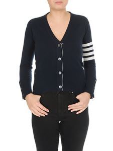 Thom Browne - Cashmere cardigan in blue with contrasting bands