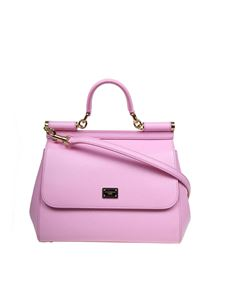 Dolce & Gabbana - Sicily medium bag in pink Dauphine leather