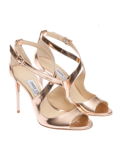 Laminated leather sandals Color: pink Adjustable ankle strap Leather sole - Jimmy  Choo - Emily