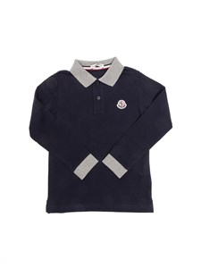 Moncler Jr - Blue long sleeved polo