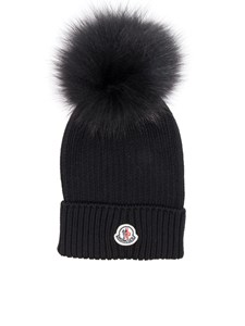 Moncler Jr - Black virgin wool cap