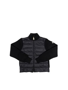 Moncler Jr - Black cardigan with padded insert