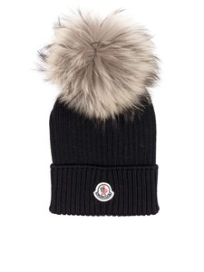 Moncler Jr - Black virgin wool cap whit logo