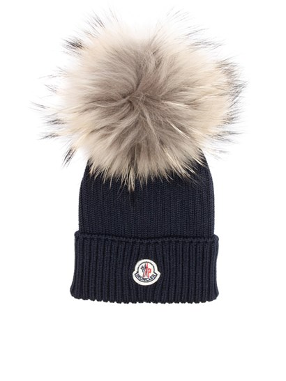 Moncler Jr - Blue virgin wool cap with logo