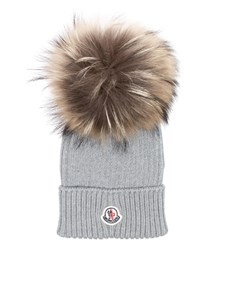 Moncler Jr - Grey virgin wool cap with logo