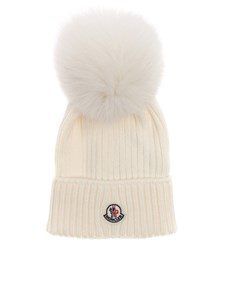 Moncler Jr - White virgin wool cap