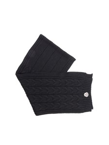 Moncler Jr - Black tricot knitting scarf
