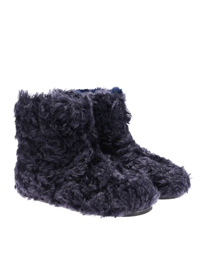 Eco-shearling boots Color: blue Logo detail on the back Rubber sole - Miu
