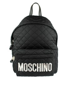 Moschino - Black matelassé backpack with logo