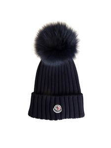 Moncler - Blue wool beanie with pom pom and logo