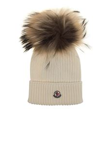 Moncler Jr - White virgin wool cap whit logo