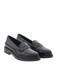 Tod's - Black brushed leather loafers
