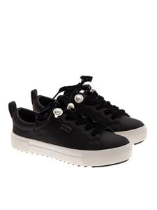 Karl Lagerfeld - Leather and fabric sneakers
