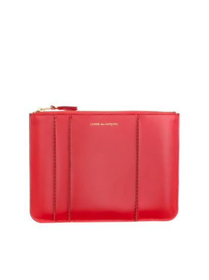 Comme Des Garçons Wallet - Stitching pouch in red