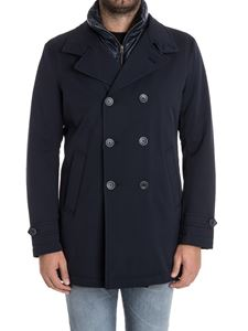 Herno - Blue wool double-breasted coat