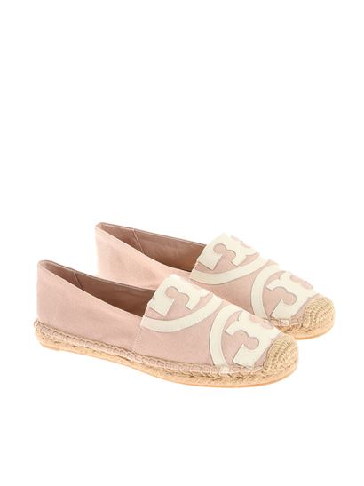 Fabric espadrilles Color: pink White logo insert on the front Raffia and  rubber sole -