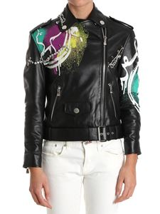 Moschino Boutique - Leather biker jacket with brooches and rhinestones