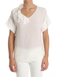 Moschino Boutique - White silk top with ruffles