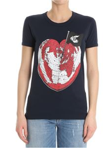 Vivienne Westwood Anglomania - Blue Heart World uUnisex T-shirt