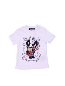 Dsquared2 - White t-shirt with Bad Dog print