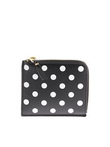 Comme Des Garçons Wallet - Black leather pouch with polka dots print