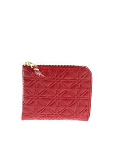 Comme Des Garçons Wallet - Red embossed leather pouch