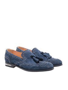 Church's - Blue suede studded loafer