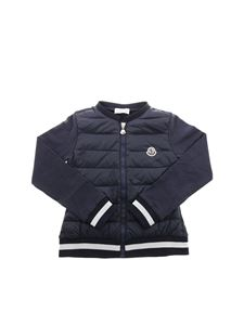 Moncler Jr - Blue sweatshirt with front down padding