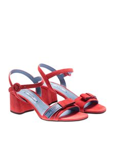 Prada - Coral red sandals with light blue logo