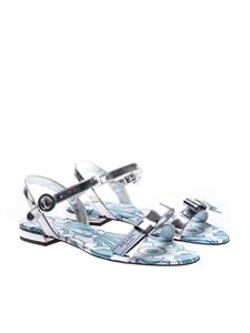 Prada - Silver sandals with light blue floral print
