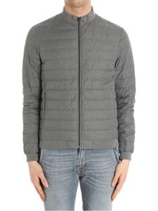 Herno - Gray down jacket with knitted inserts