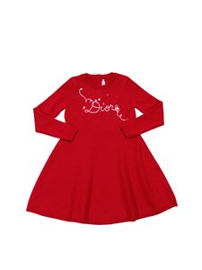 Baby Dior - Red flared dress with logo embroidery