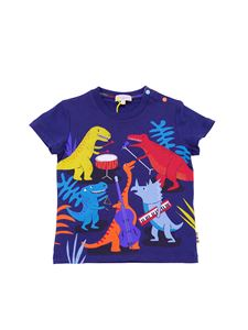 Paul Smith - Blue t-shirt with dinosaurs print