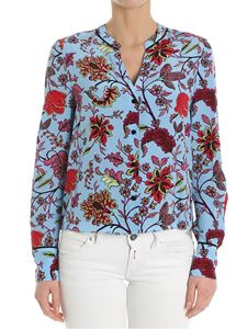 Diane von Fürstenberg - Light blue floral silk shirt
