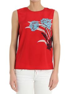 Diane von Fürstenberg - Black and red top with floral print