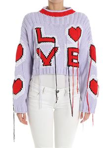 Philosophy di Lorenzo Serafini - Lilac crop sweater with red Love embroidery