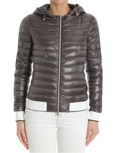 Herno - Taupe colored down jacket with white and lurex inserts