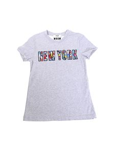 MSGM - Grey New York cotton T-shirt