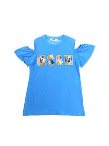 MSGM - Light blue cotton t-shirt with cut-out