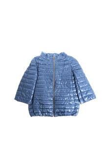 Herno - Light blue three-quarters sleeve down jacket