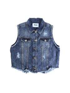 MSGM - Blue denim sleeveless jacket