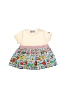 Moncler Jr - White dress with cartoon pattern