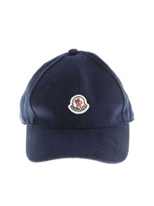Moncler Jr - Blue hat with front logo