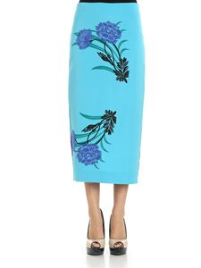 Diane von Fürstenberg - Turquoise pencil skirt with floral print