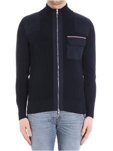 Moncler - Blue tricot cardigan with logo