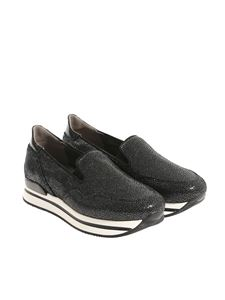Hogan - Black reptile effect leather slip-on